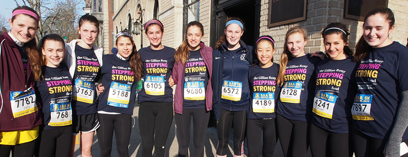 More than 55 runners participated in Boston's 5K race in support of the Gillian Reny Stepping Strong Fund.